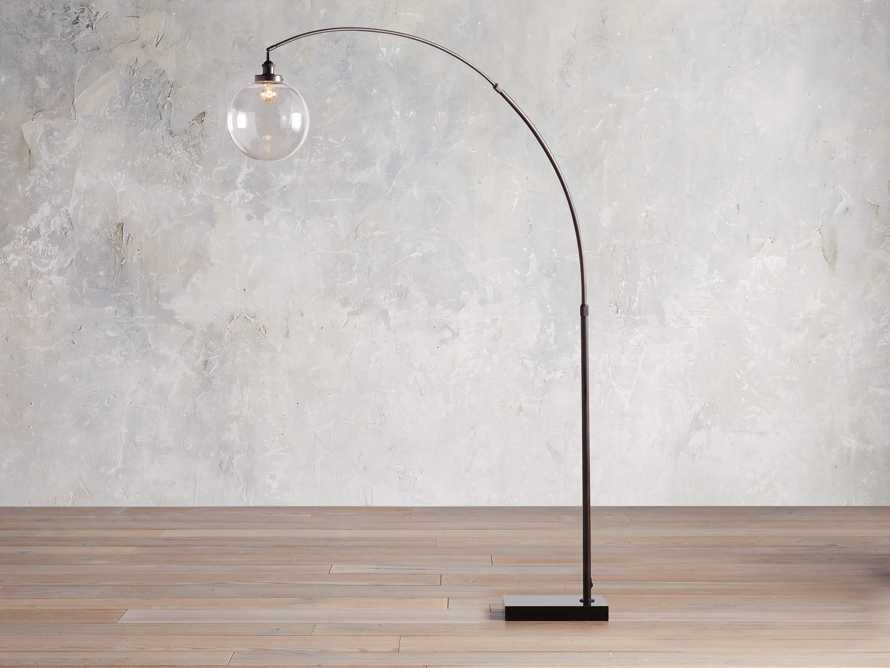 ARC FLOOR LAMP WITH GLASS SHADE IN BRONZE, slide 3 of 6