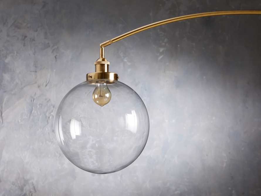 ARC FLOOR LAMP WITH GLASS SHADE IN BRASS, slide 4 of 5