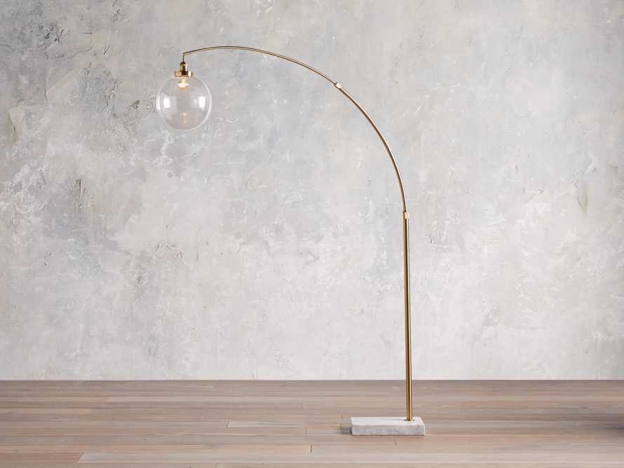 ARC FLOOR LAMP WITH GLASS SHADE IN BRASS, slide 1 of 5