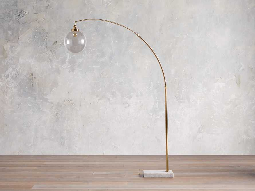 ARC FLOOR LAMP WITH GLASS SHADE IN BRASS, slide 2 of 5