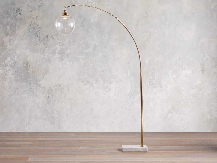 ARC FLOOR LAMP WITH GLASS SHADE IN BRASS, slide 3 of 5