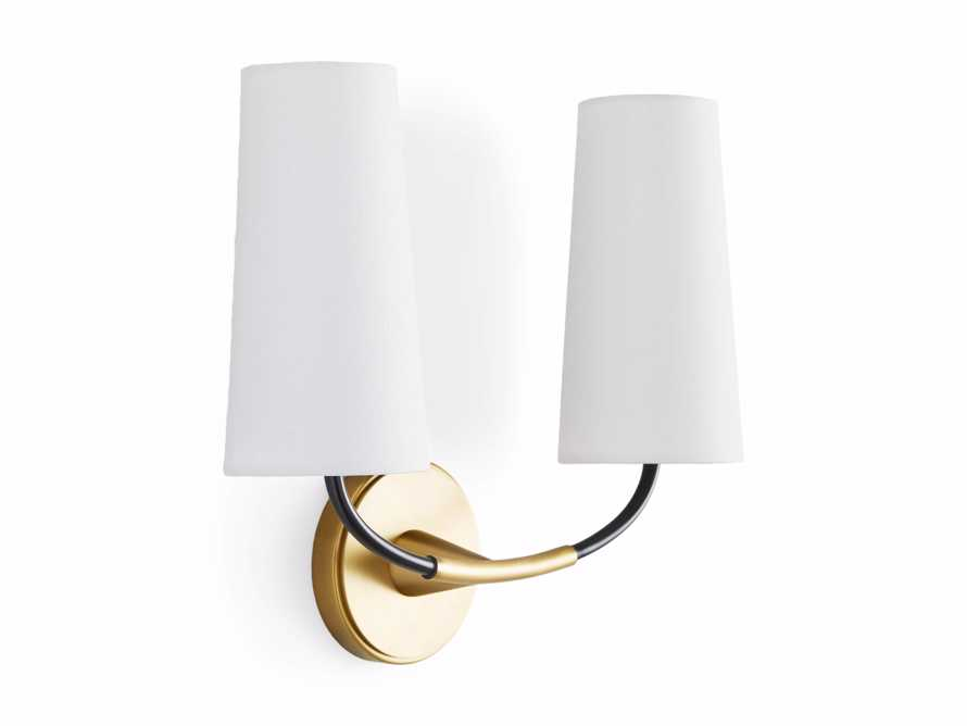 LENNON SCONCE W/ WHITE SHADES, slide 6 of 7