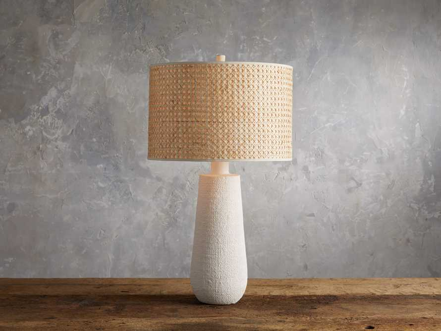 Stucco Table Lamp with Cane Shade, slide 1 of 5