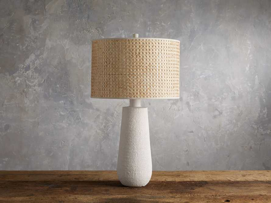 Stucco Table Lamp with Cane Shade, slide 2 of 5
