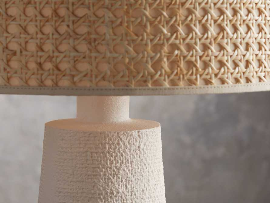 Stucco Table Lamp with Cane Shade, slide 3 of 5
