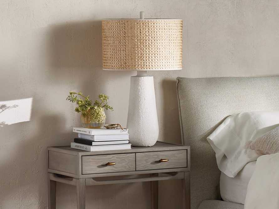 Stucco Table Lamp with Cane Shade, slide 4 of 5