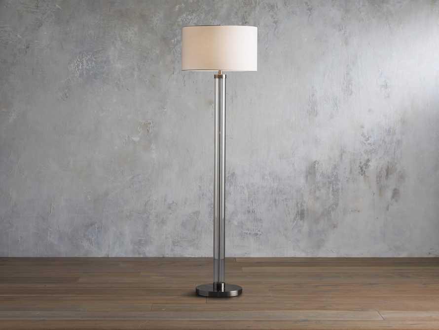 Glass Column Nickel Floor Lamp, slide 1 of 4