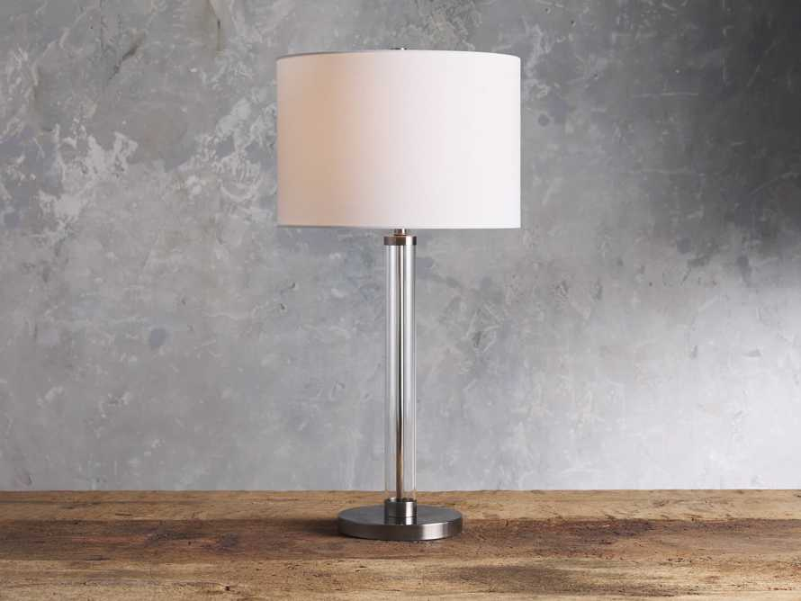 Glass Column Nickel Table Lamp, slide 1 of 4