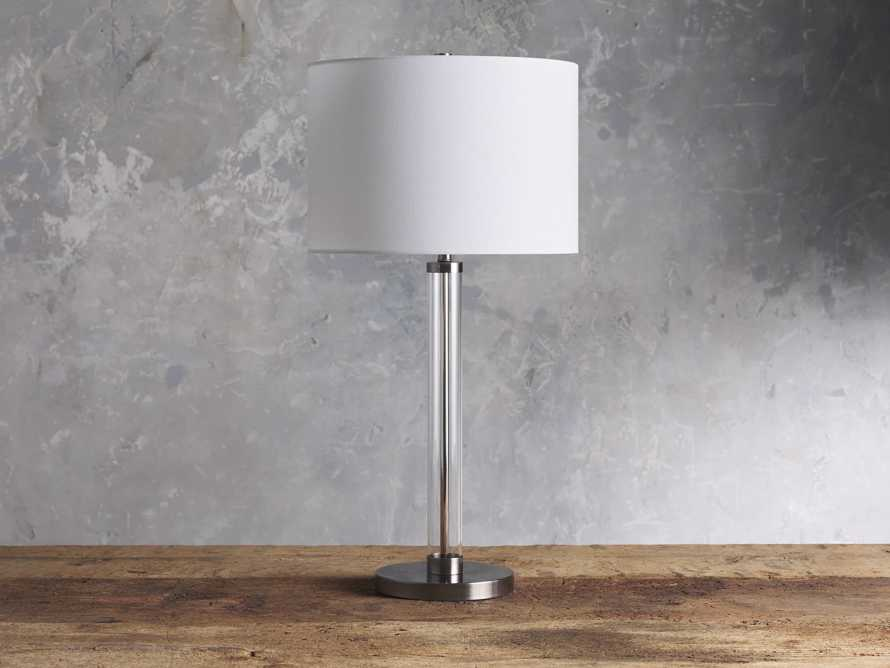 Glass Column Nickel Table Lamp, slide 2 of 4
