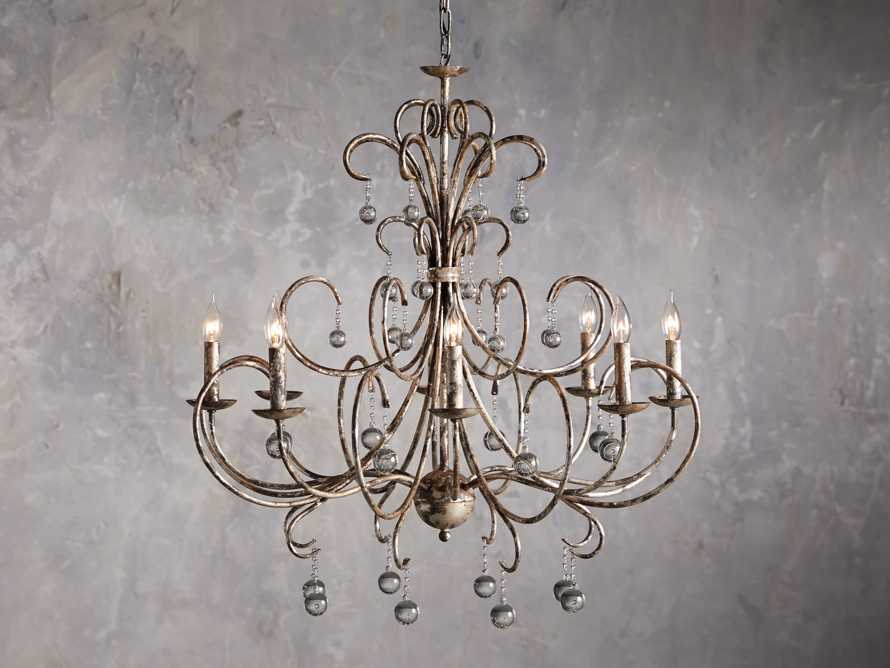 Large Scroll Ball Chandelier in Silver, slide 1 of 6