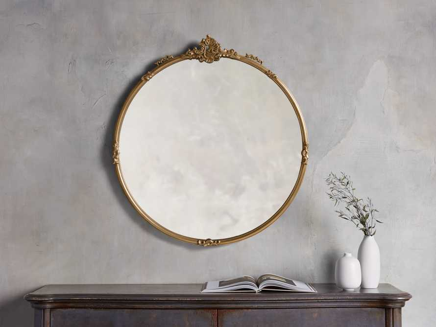Amelie Round Wall Mirror in Gold, slide 1 of 2
