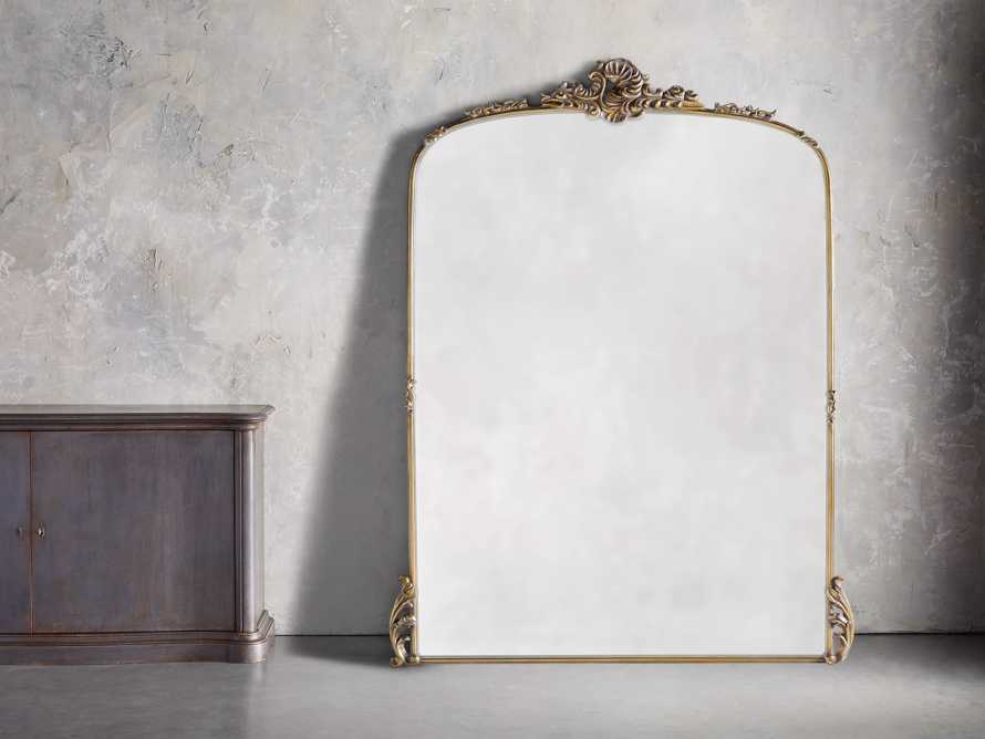 "Amelie 64"" Wooden Arched Grand Floor Mirror in Gold, slide 1 of 5"