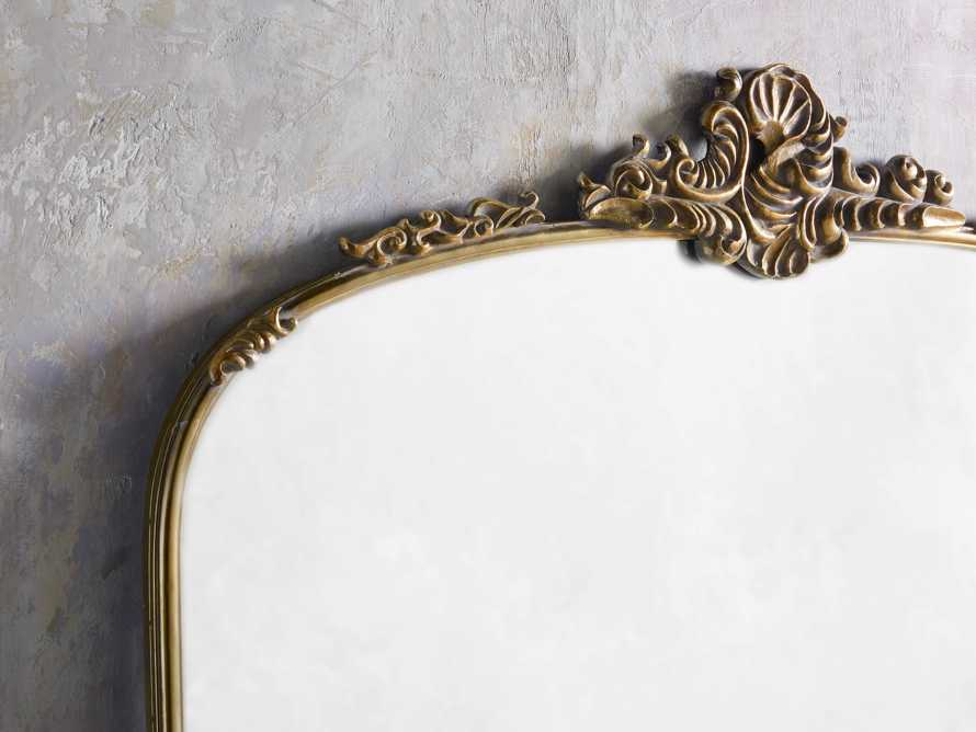 "Amelie 64"" Wooden Arched Grand Floor Mirror in Gold, slide 2 of 5"