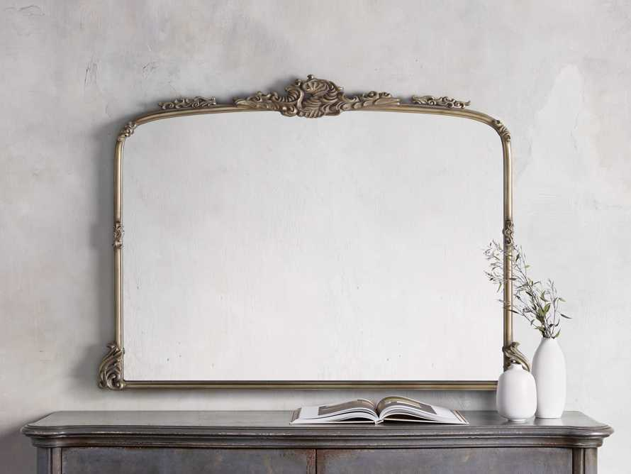 "Amelie 51.5"" Wooden Arched Dresser Mirror in Gold, slide 1 of 4"