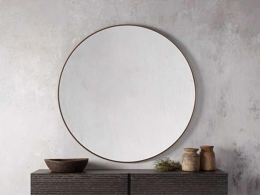 Linnea Round Mirror in Brass, slide 1 of 5