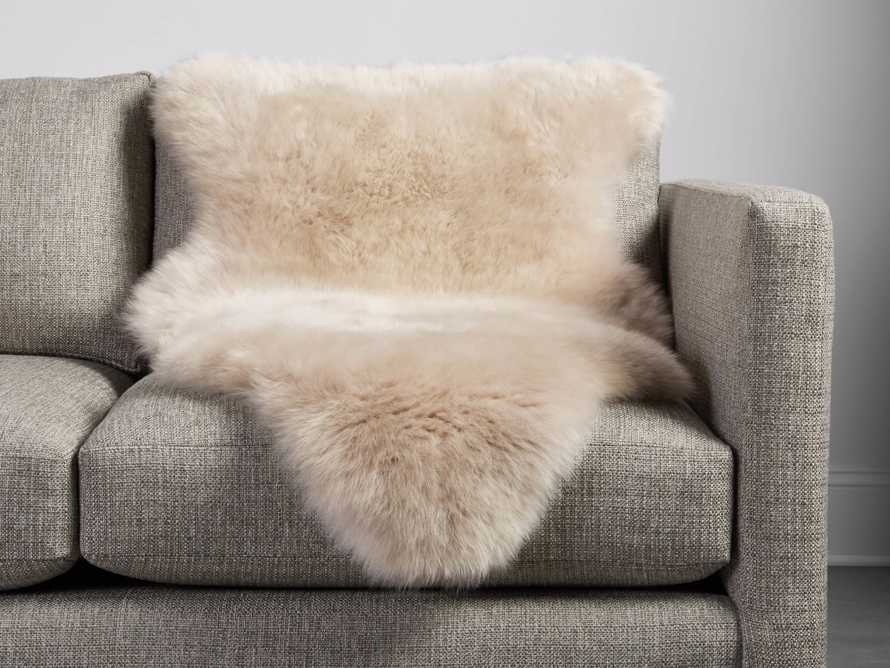 Sheepskin Small Wool Throw In Linen, slide 1 of 5
