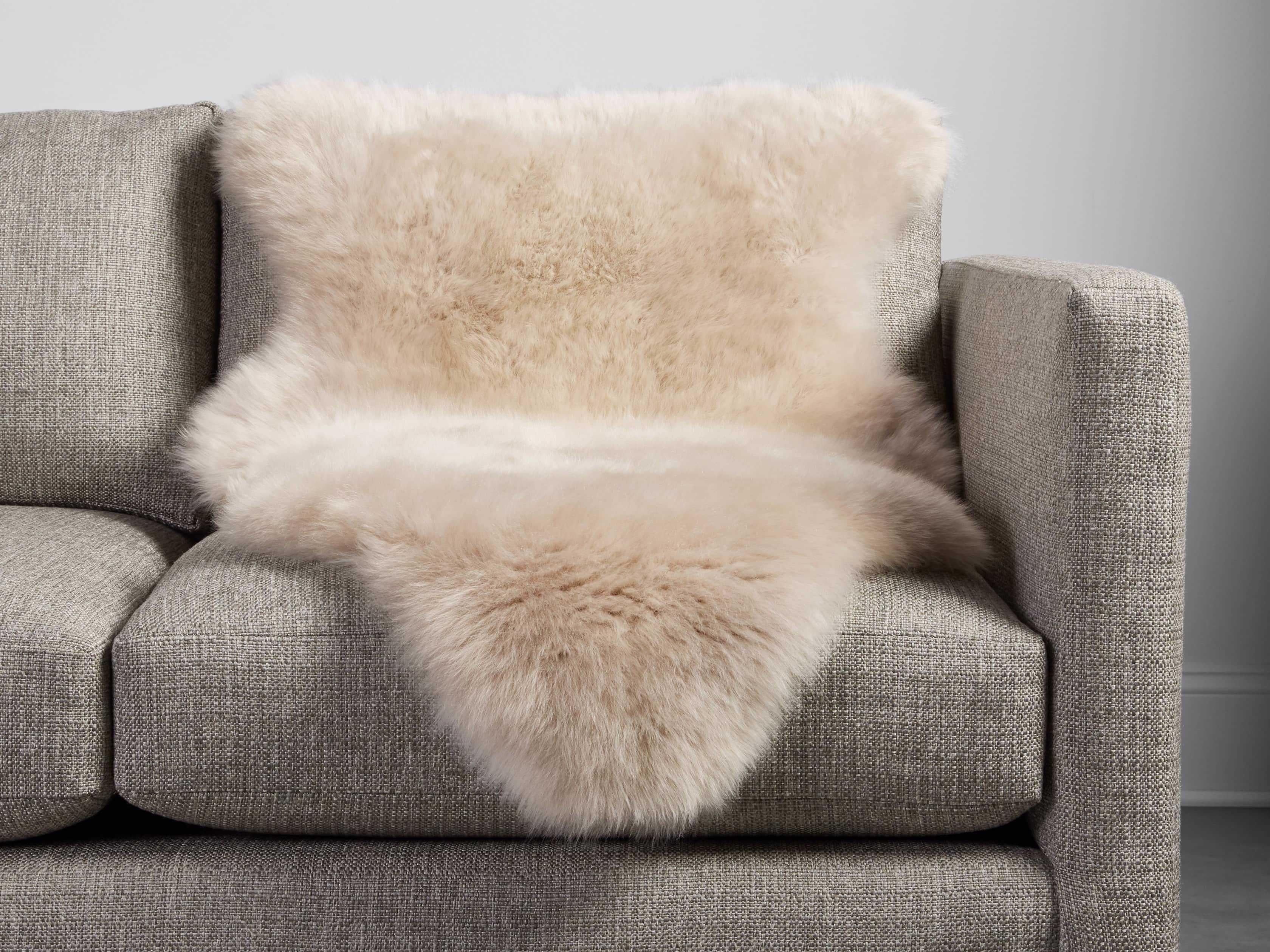 Sheepskin Wool Throw In Linen