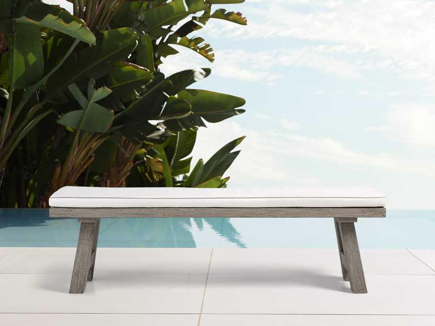 "Adones Outdoor 82"" Dining Bench in Driftwood Grey, slide 1 of 2"