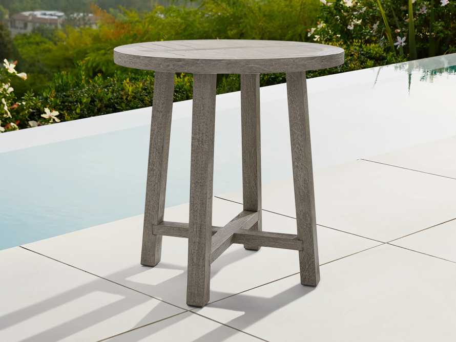 """Adones Outdoor 36"""" Teak Counter Table in Driftwood Grey, slide 1 of 4"""