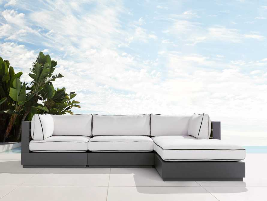 """Bal Harbour Outdoor Aluminum 117"""" Four Piece Sectional with Flange, slide 1 of 8"""