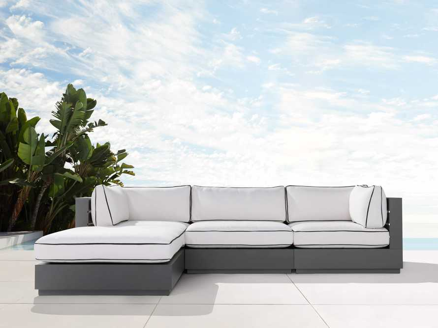 """Bal Harbour Outdoor Aluminum 117"""" Four Piece Sectional with Flange, slide 2 of 8"""