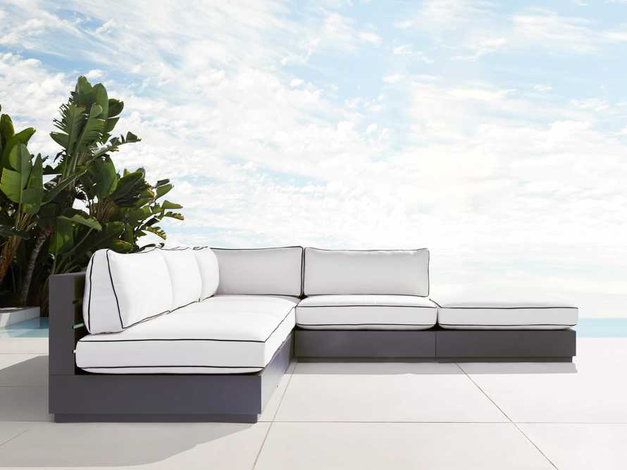 """Bal Harbour Outdoor Aluminum Five Piece 117"""" L-Shaped Sectional with Flange, slide 1 of 8"""