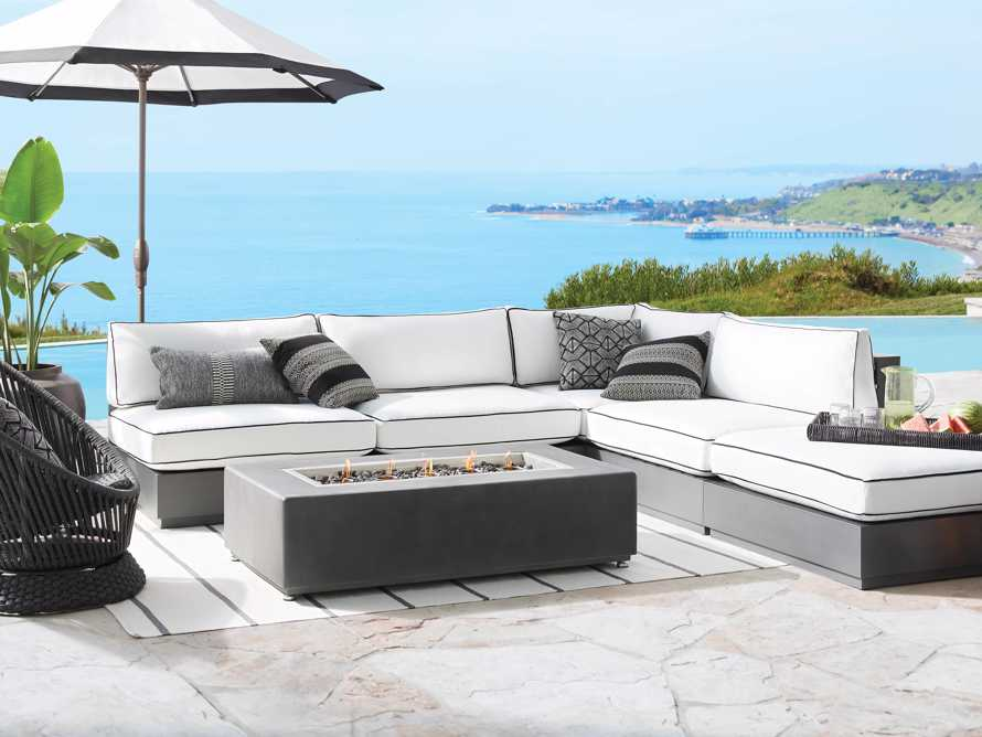 """Bal Harbour Outdoor Aluminum Five Piece 117"""" L-Shaped Sectional with Flange, slide 2 of 8"""