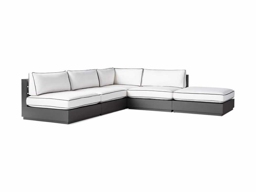 """Bal Harbour Outdoor Aluminum Five Piece 117"""" L-Shaped Sectional with Flange, slide 5 of 8"""