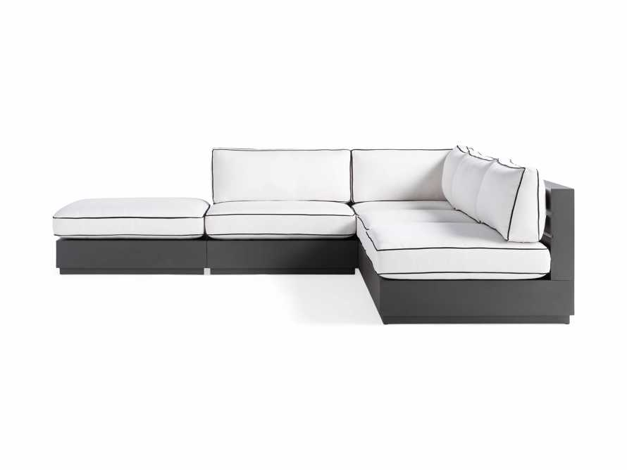 """Bal Harbour Outdoor Aluminum Five Piece 117"""" L-Shaped Sectional with Flange, slide 4 of 8"""