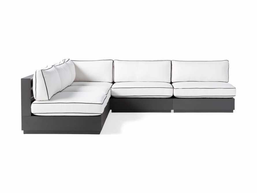 "Bal Harbour Outdoor Aluminum 117"" Five Piece Corner Sectional with Flange, slide 3 of 8"