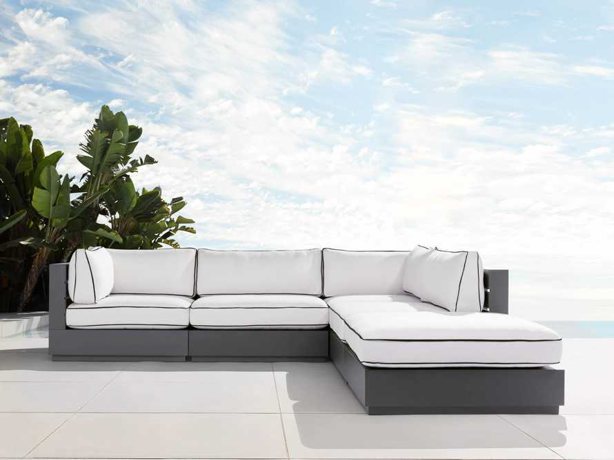 """Bal Harbour Outdoor Aluminum 117"""" Five Piece Sectional with Flange, slide 1 of 7"""