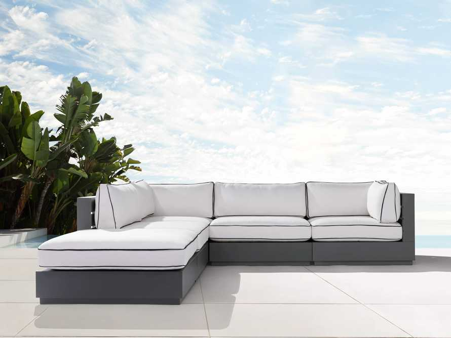 """Bal Harbour Outdoor Aluminum 117"""" Five Piece Sectional with Flange, slide 2 of 7"""