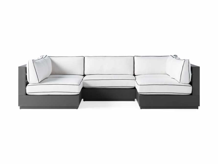 Bal Harbour Outdoor Aluminum Five Piece U-Shaped Sectional with Flange, slide 2 of 6