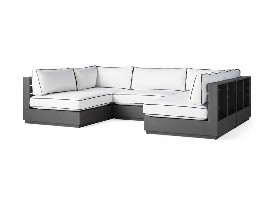 Bal Harbour Outdoor Aluminum Five Piece U-Shaped Sectional with Flange, slide 3 of 6