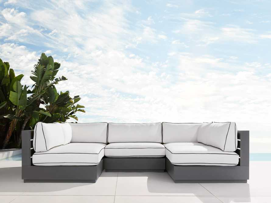 Bal Harbour Outdoor Aluminum Five Piece U-Shaped Sectional with Flange, slide 1 of 6