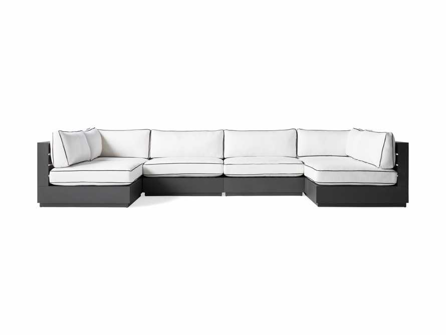 """Bal Harbour Outdoor Aluminum 156"""" Six Piece U-Shaped Sectional with Flange, slide 2 of 6"""