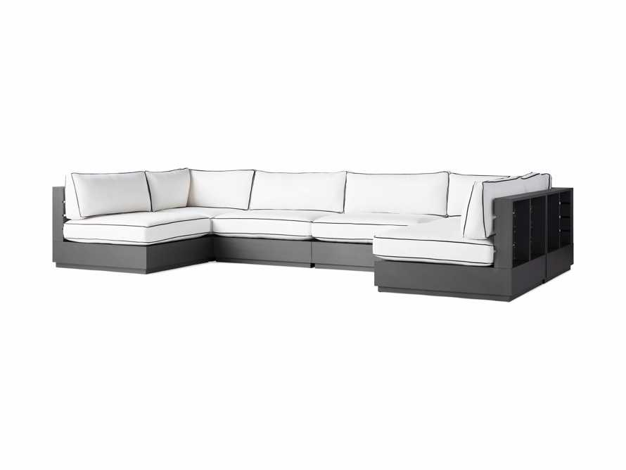 """Bal Harbour Outdoor Aluminum 156"""" Six Piece U-Shaped Sectional with Flange, slide 3 of 6"""