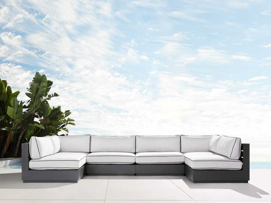 """Bal Harbour Outdoor Aluminum 156"""" Six Piece U-Shaped Sectional with Flange, slide 1 of 6"""