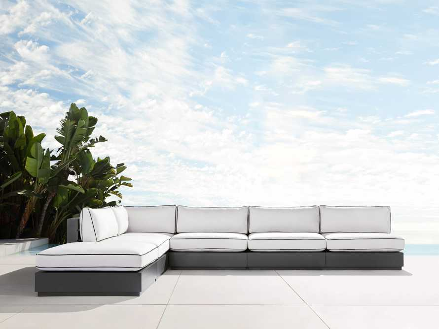 """Bal Harbour Outdoor Aluminum 156"""" Six Piece L-Shaped Sectional with Flange, slide 1 of 8"""