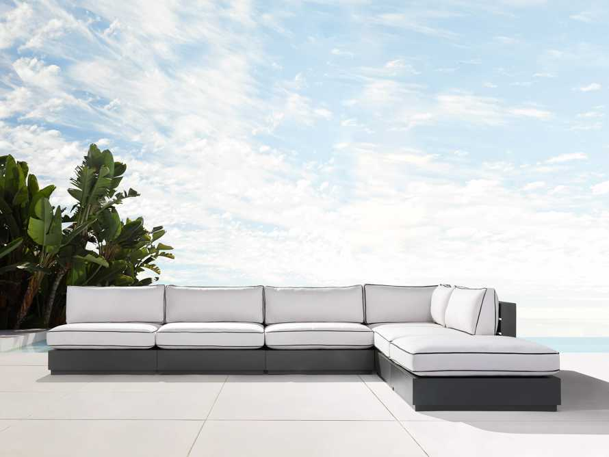 """Bal Harbour Outdoor Aluminum 156"""" Six Piece L-Shaped Sectional with Flange, slide 2 of 8"""