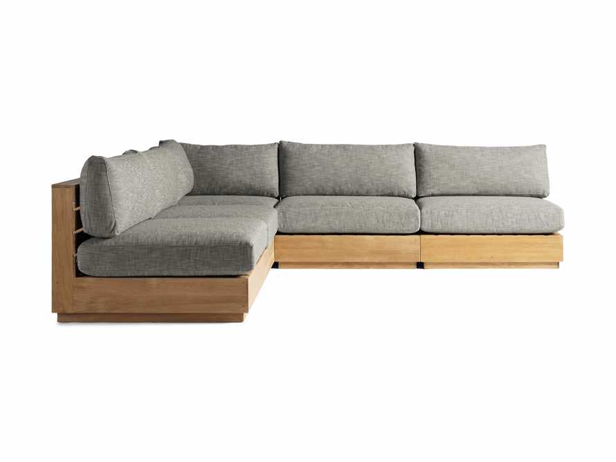 "Bal Harbour Outdoor Teak 117"" Five Piece Corner Sectional in Starboard Mink, slide 2 of 4"