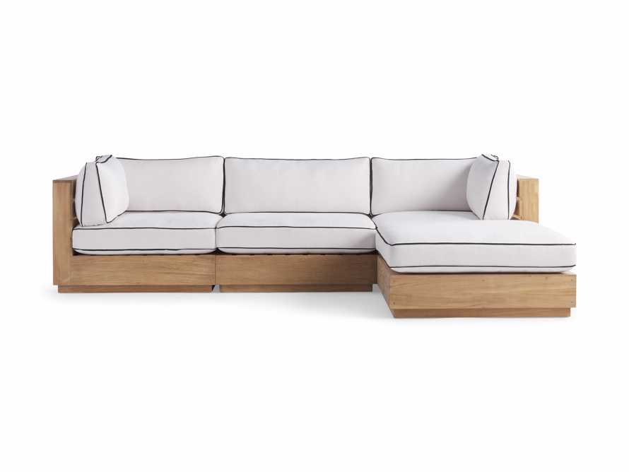 """Bal Harbour Outdoor Teak 117"""" Four Piece Sectional with Flange, slide 3 of 7"""