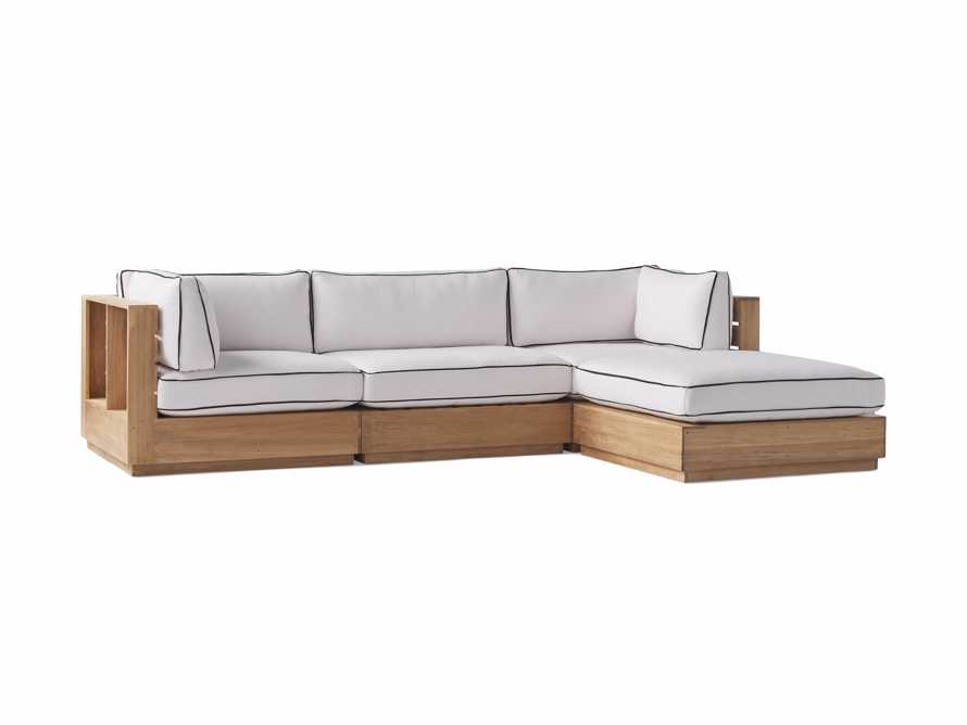 """Bal Harbour Outdoor Teak 117"""" Four Piece Sectional with Flange, slide 4 of 7"""