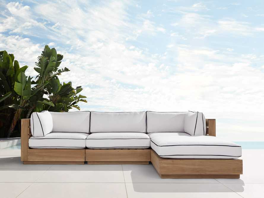 """Bal Harbour Outdoor Teak 117"""" Four Piece Sectional with Flange, slide 1 of 7"""