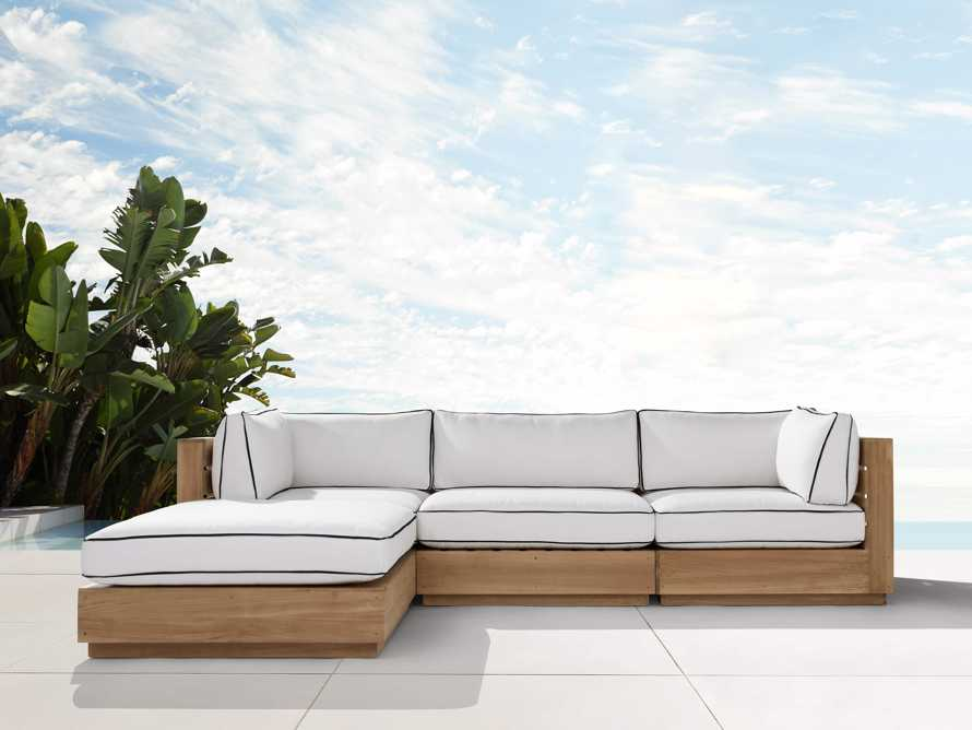 """Bal Harbour Outdoor Teak 117"""" Four Piece Sectional with Flange, slide 2 of 7"""