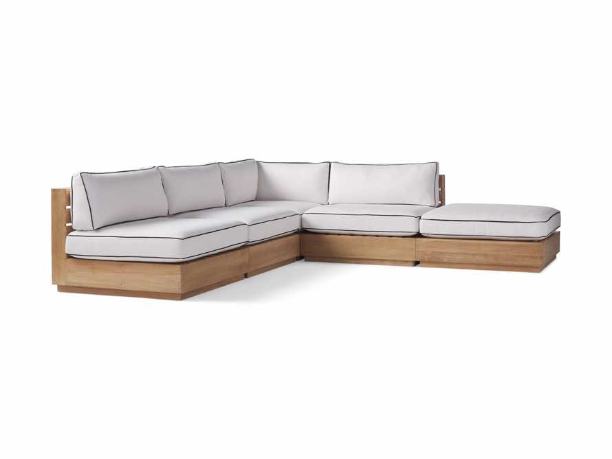 "Bal Harbour Outdoor Teak 117"" Five Piece L-Shaped Sectional with Flange, slide 3 of 6"