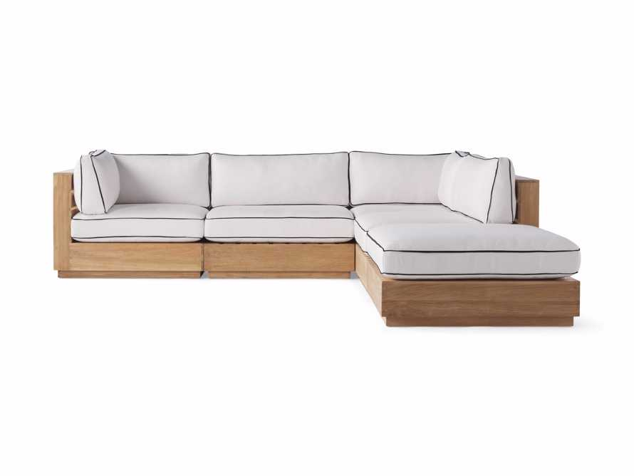 "Bal Harbour Outdoor Teak 117"" Five Piece Sectional with Flange, slide 3 of 7"