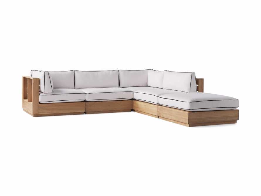 "Bal Harbour Outdoor Teak 117"" Five Piece Sectional with Flange, slide 4 of 7"