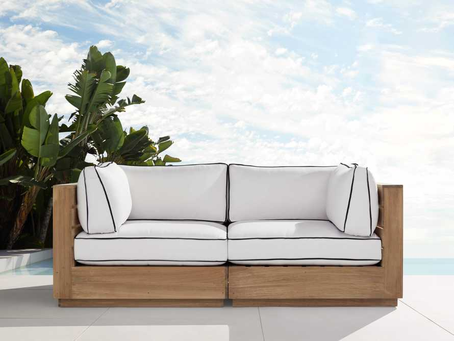 "Bal Harbour Outdoor Teak 78"" Modular Sofa with Flange, slide 1 of 6"