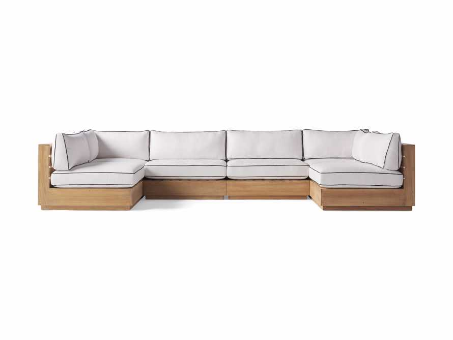 "Bal Harbour Outdoor Teak 156"" Six Piece U-Shaped Sectional with Flange, slide 2 of 6"